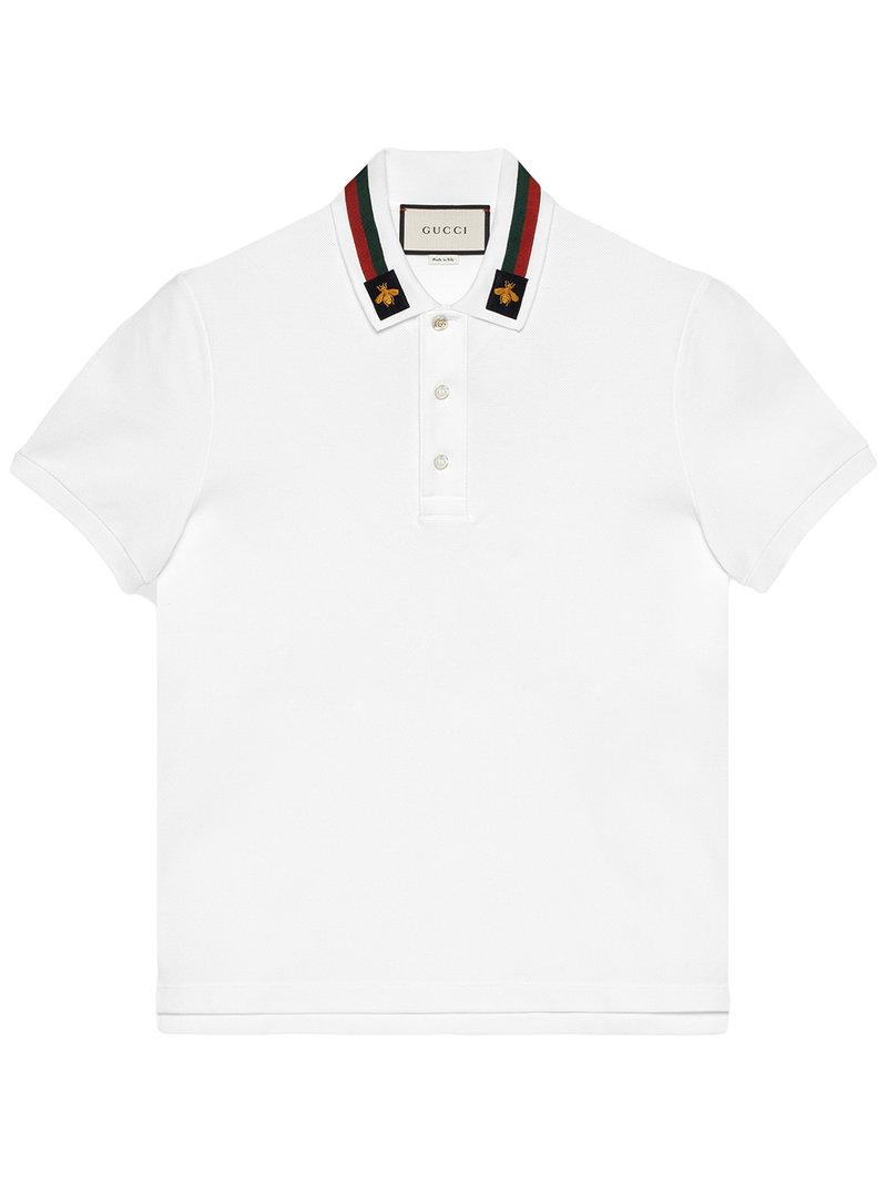 053b1746edb5 Gucci Cotton Polo With Web And Bee in White for Men - Lyst