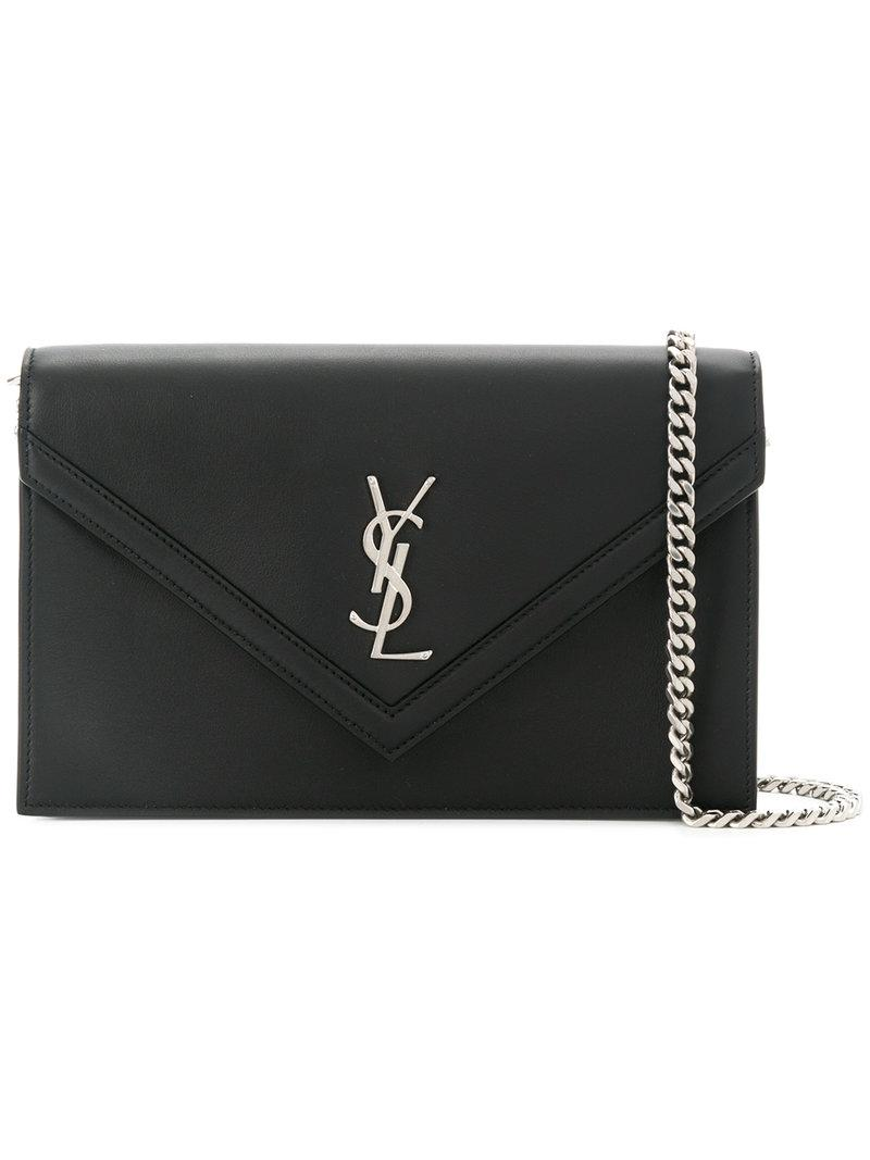 Lyst - Saint Laurent Envelope Pointed Flap Clutch in Black 203637824c02b