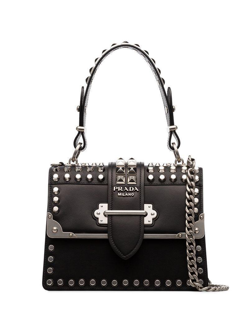 4cc5f8b55709 Prada Black Cahier Studded Tote Bag in Black - Lyst