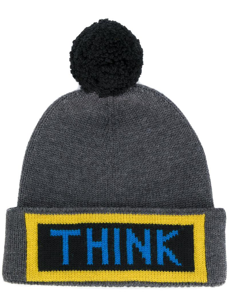 Fendi. Men's Black Think Bobble Hat