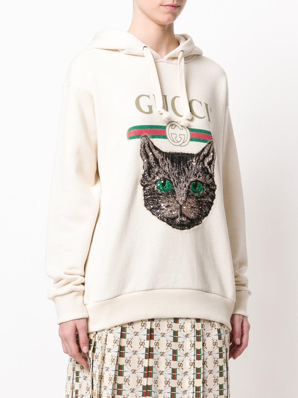 0edbebca054 Lyst - Gucci Mystic Cat Logo Hoodie in Natural