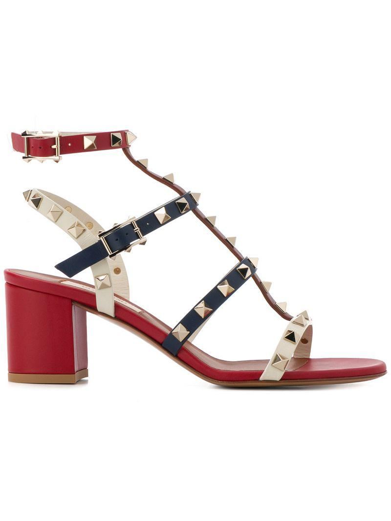 c0a0d5403b3a Lyst - Valentino Garavani Rockstud Sandals in Red - Save 3%
