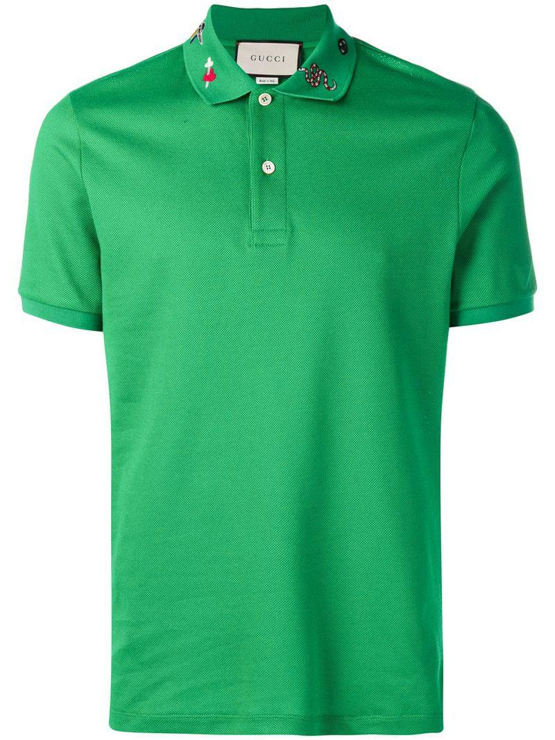 ea0e660c94a Gucci - Green Embroidered Polo Shirt for Men - Lyst. View fullscreen