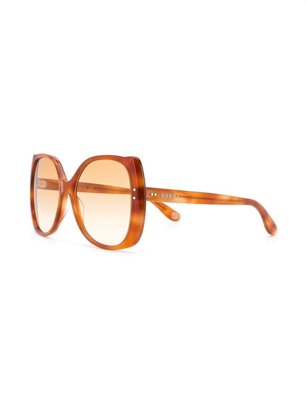 d4faa66bbb0 Lyst - Gucci Round Frame Glasses in Brown