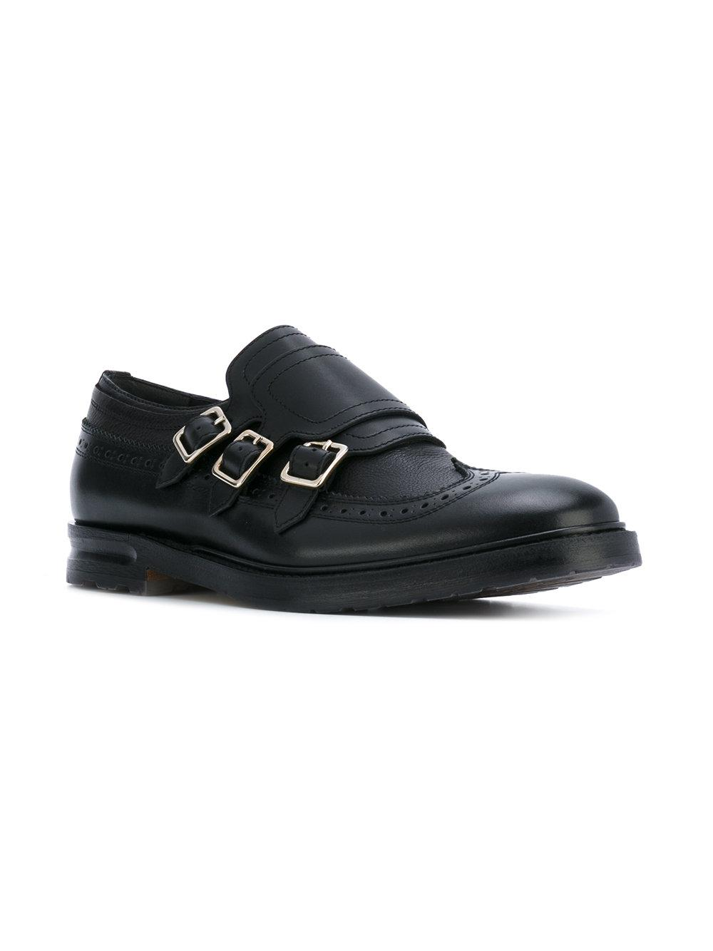 141012ac698 Alexander McQueen Three Strap Monk Shoes in Black for Men - Lyst