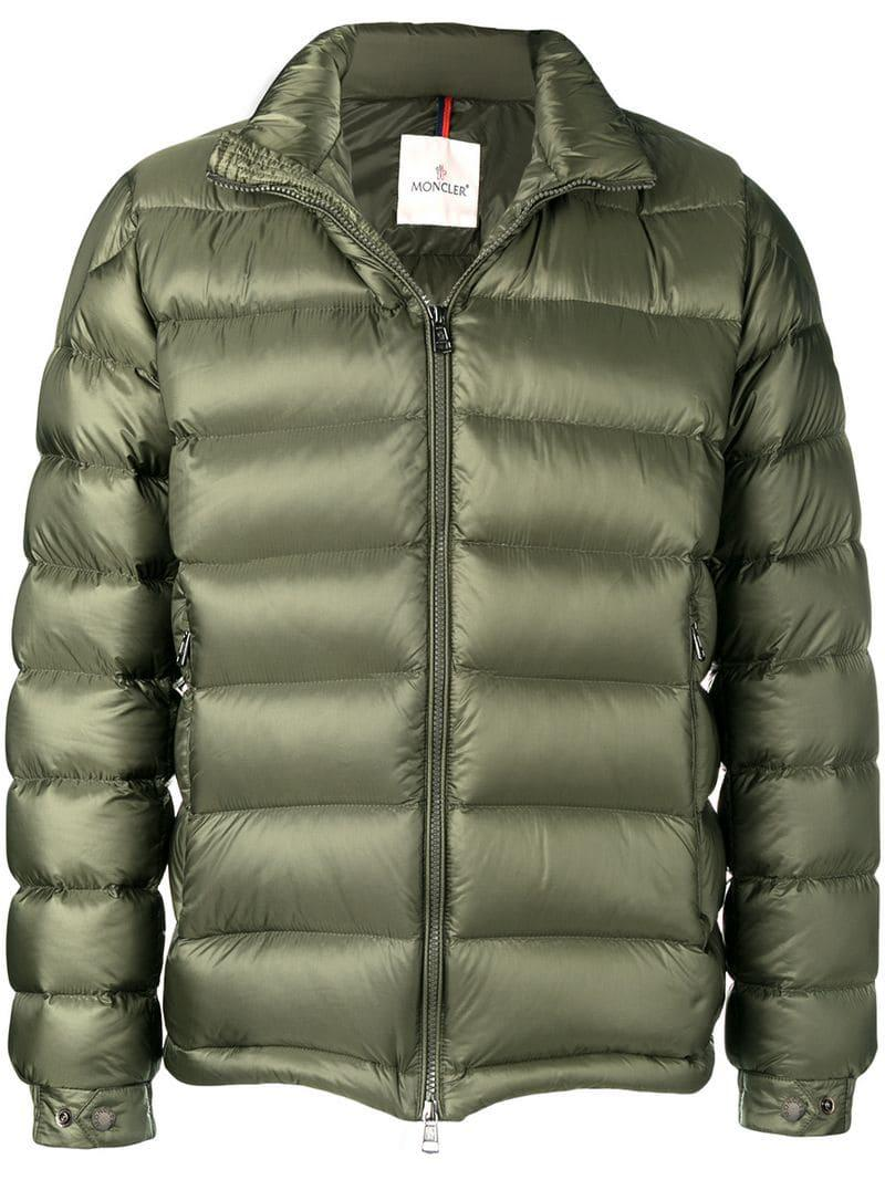 1526416de Moncler Zipped Padded Jacket in Green for Men - Lyst