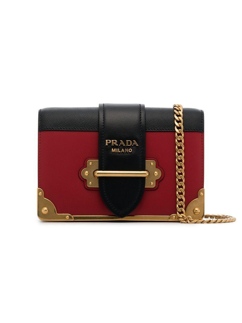 b33f10725ab0 Prada Black And Red Cahier Mini Leather Shoulder Bag in Red - Save ...
