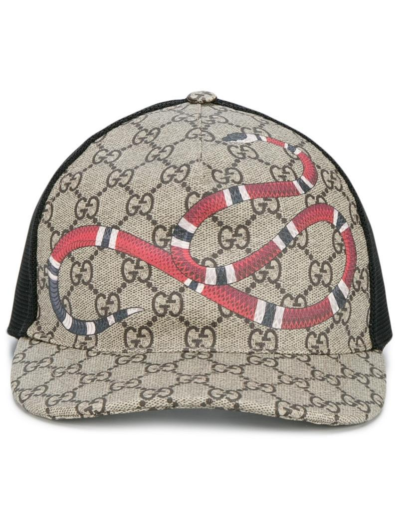 1e86625e8f7 ... designer fashion eec84 6d257 Lyst - Gucci Snake Print Gg Supreme  Baseball Cap in Brown fo ...
