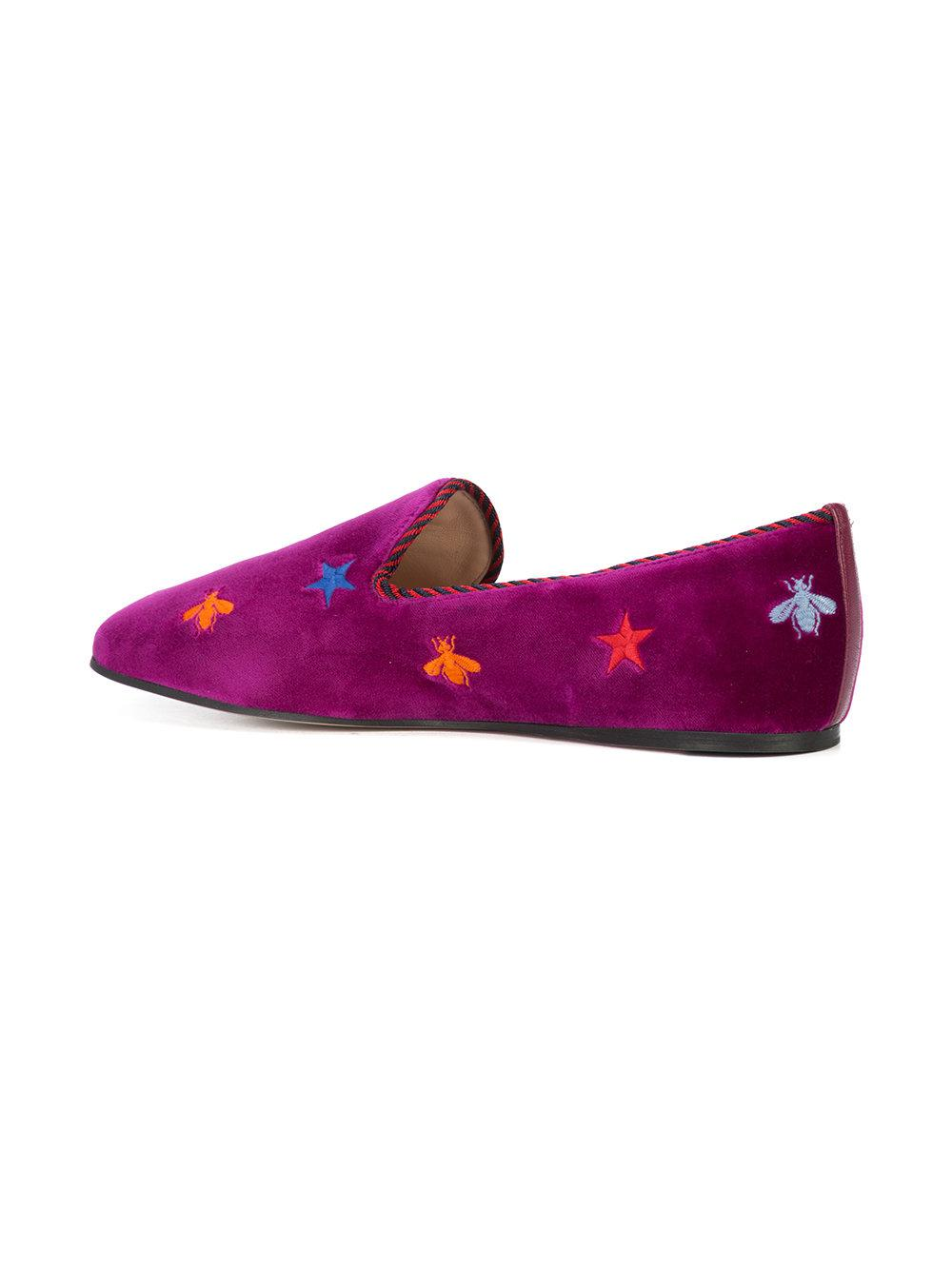 embroidered suede slippers - Pink & Purple Blue Bird Shoes A00YOxmv