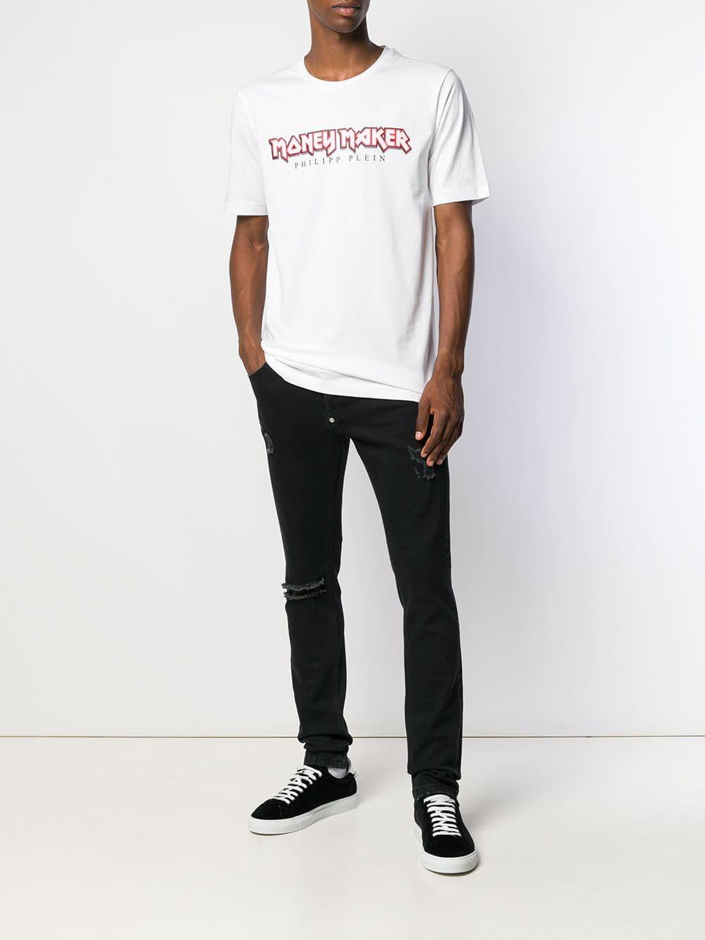 211e436f841 Philipp Plein Round Neck Statement T-shirt in White for Men - Lyst