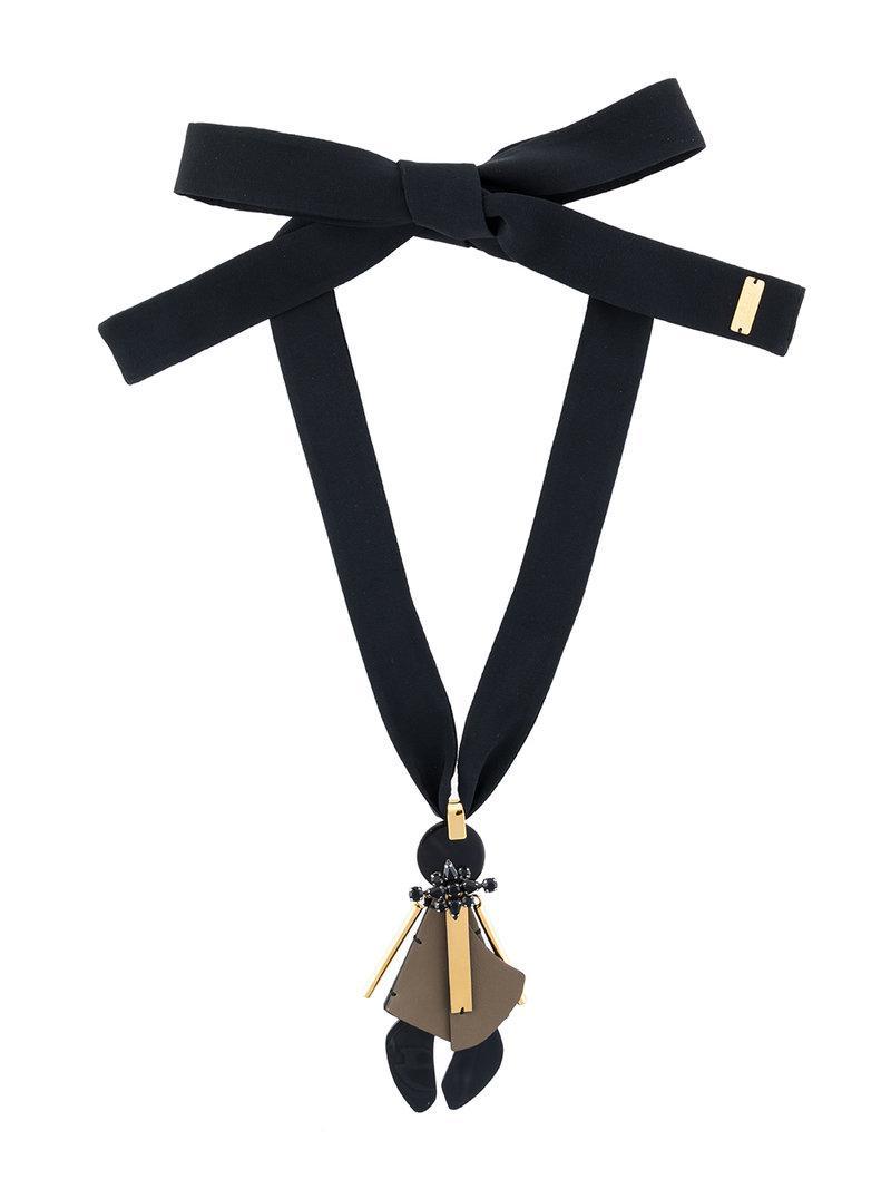0921ffe9182 Lyst - Marni Collana Con Pendente Geometrico in Black