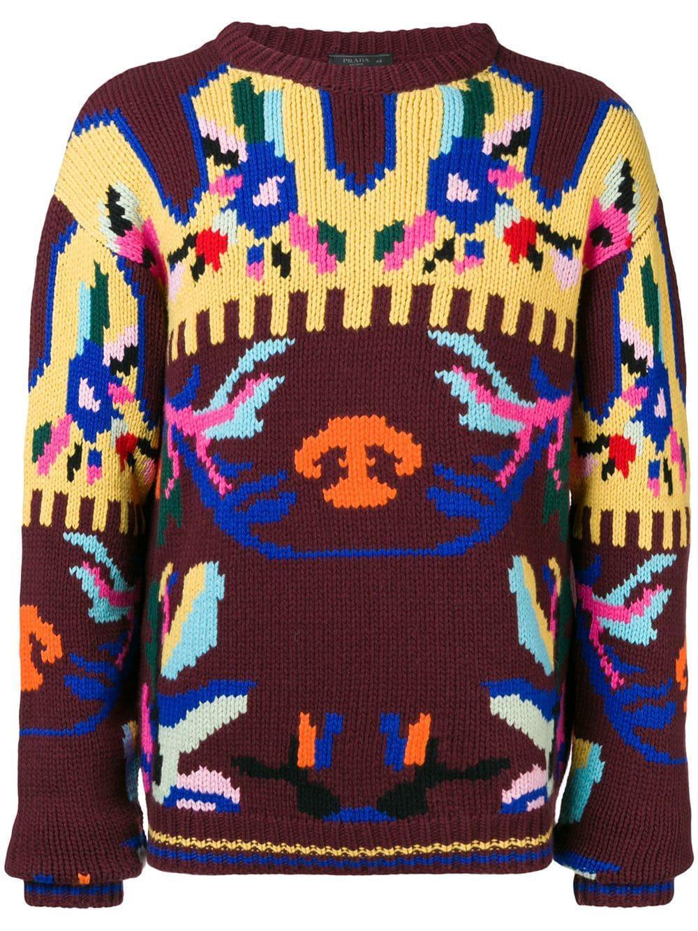 e94a1d70e542 Prada Intarsia Knit Sweater in Pink for Men - Lyst