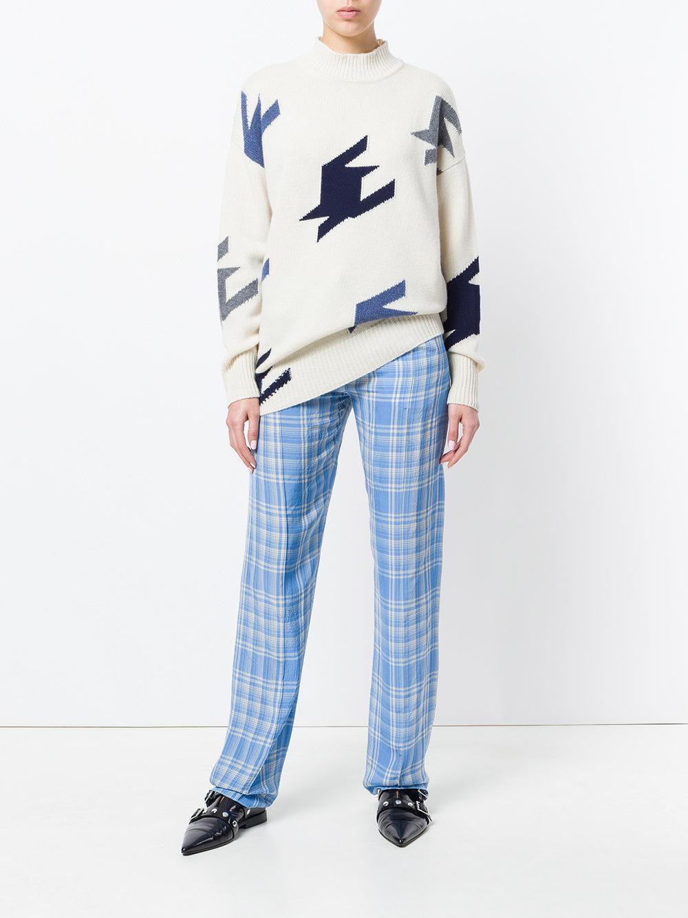recta pierna pantalones Lyst Victoria Beckham de Plaid Blue XYwYqvFR