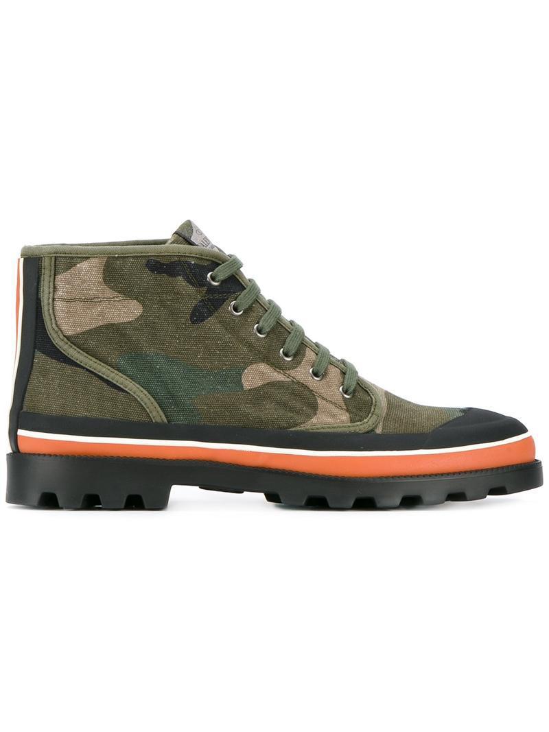 valentino garavani camouflage boots in green for men lyst