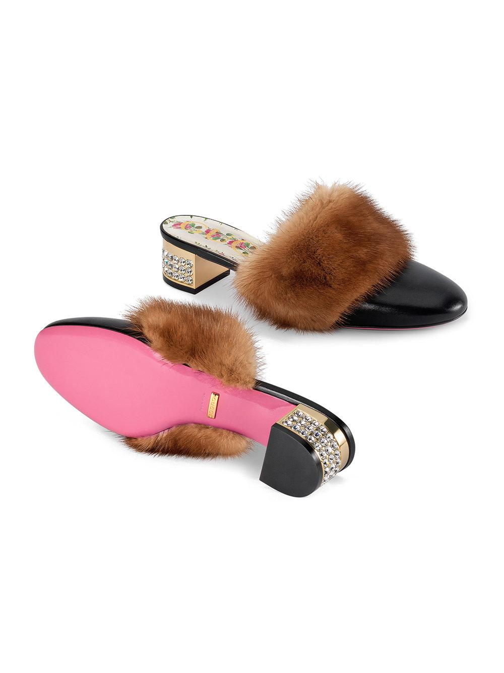 88286397c41 Gucci - Black Leather Slide With Mink Fur - Lyst. View fullscreen