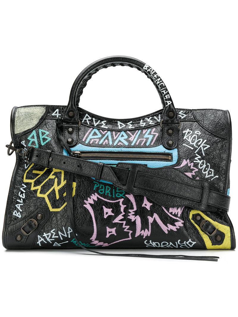 a308eca49 Balenciaga - Black Bolso Classic City Graffiti - Lyst. Ver en pantalla  completa