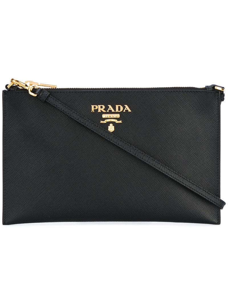 988771bba98881 Prada - Logo Plaque Clutch Bag - Women - Leather - One Size in Black ...