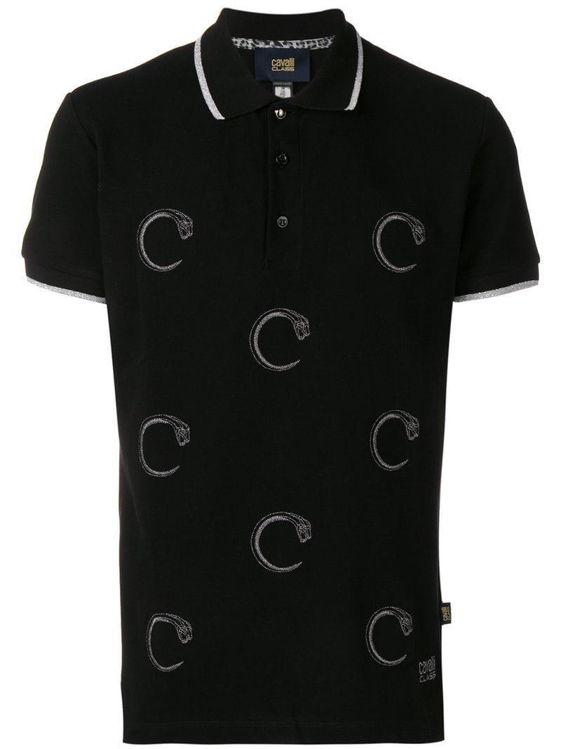 79d56934 Class Roberto Cavalli Snake Prints Polo Shirt in Black for Men - Lyst