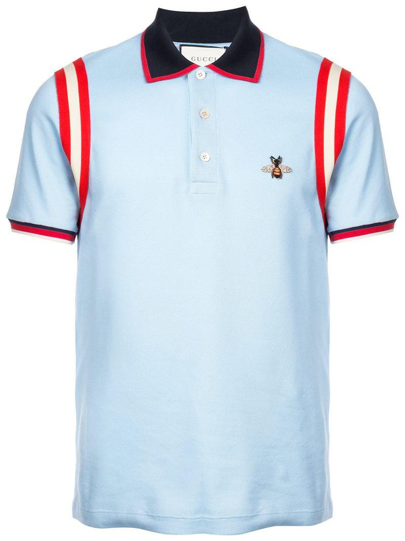 80913b39a Gucci Embroidered Bee Polo Shirt in Blue for Men - Save 5% - Lyst