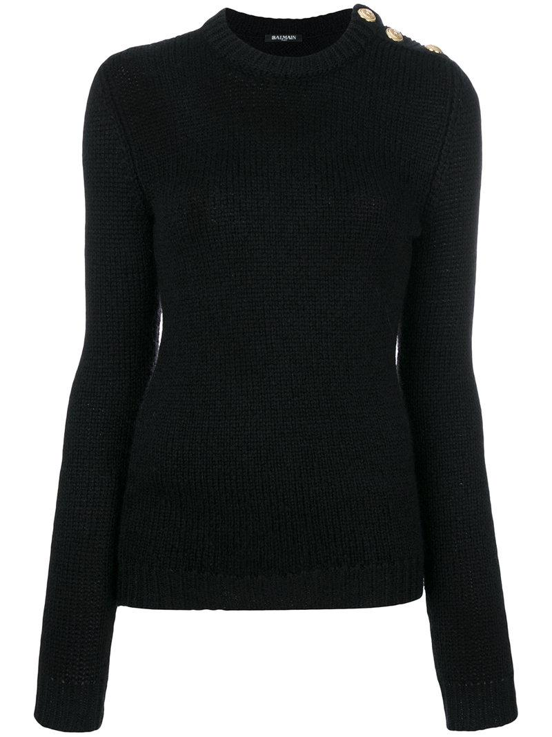 Balmain Black Button Jumper In Lyst Ribbed wq6IBxrw5