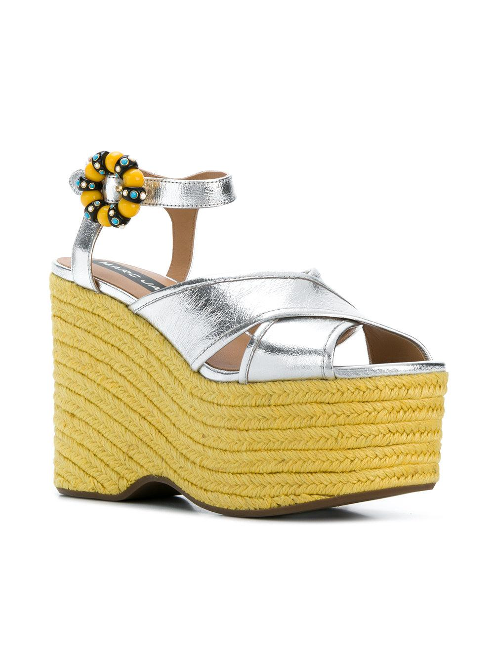 6f707232a02 Lyst - Marc Jacobs Rowan Wedge Sandals in Yellow