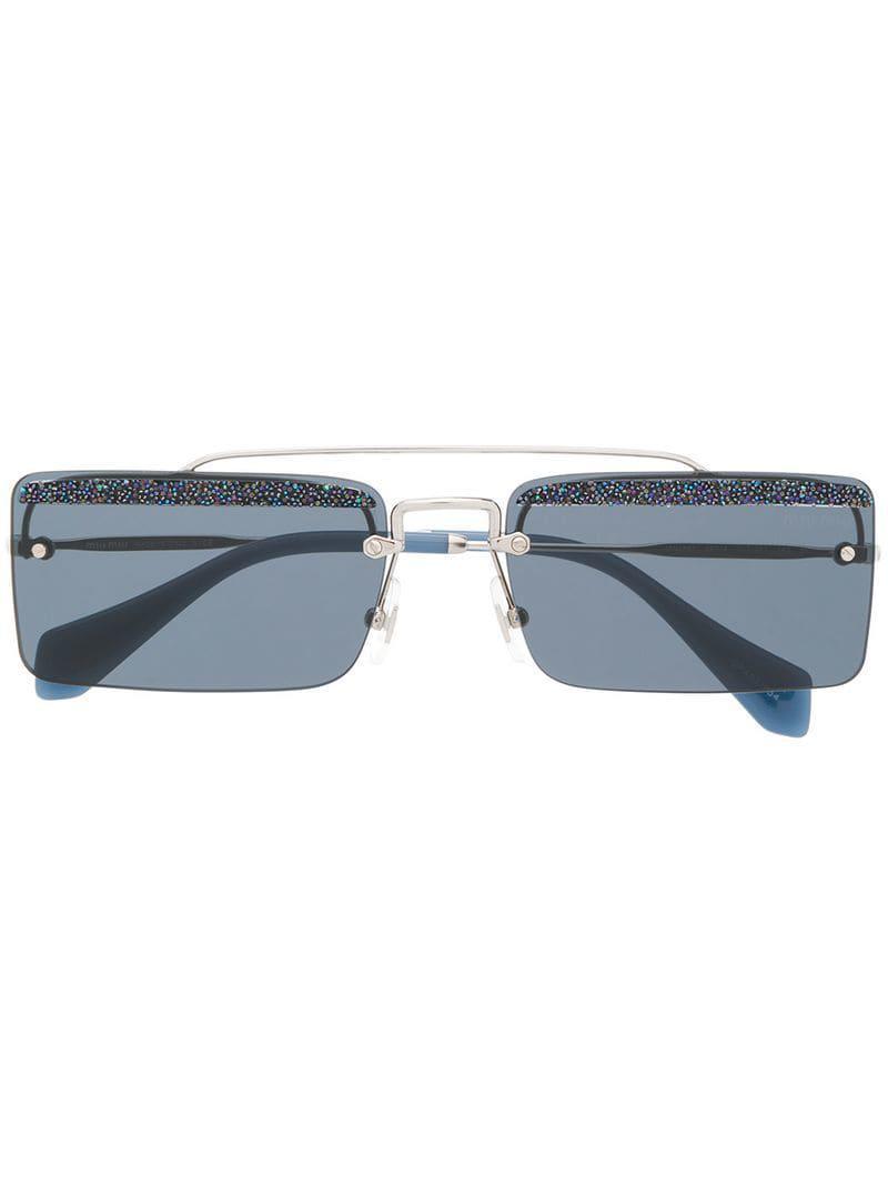e720e82379f Miu Miu Square Frame Glitter Sunglasses in Metallic - Lyst