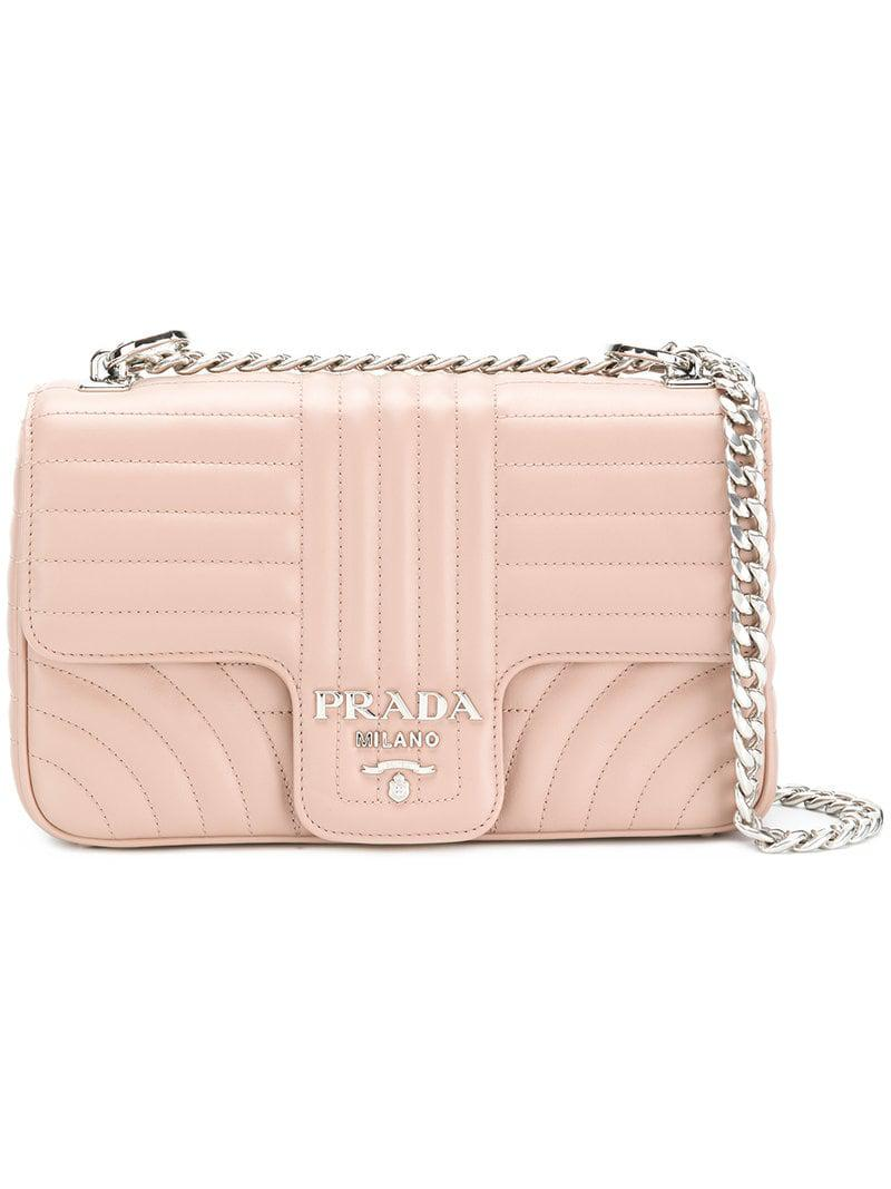 a945dd9c57b8 Prada - Pink Quilted Crossbody Bag - Lyst. View fullscreen