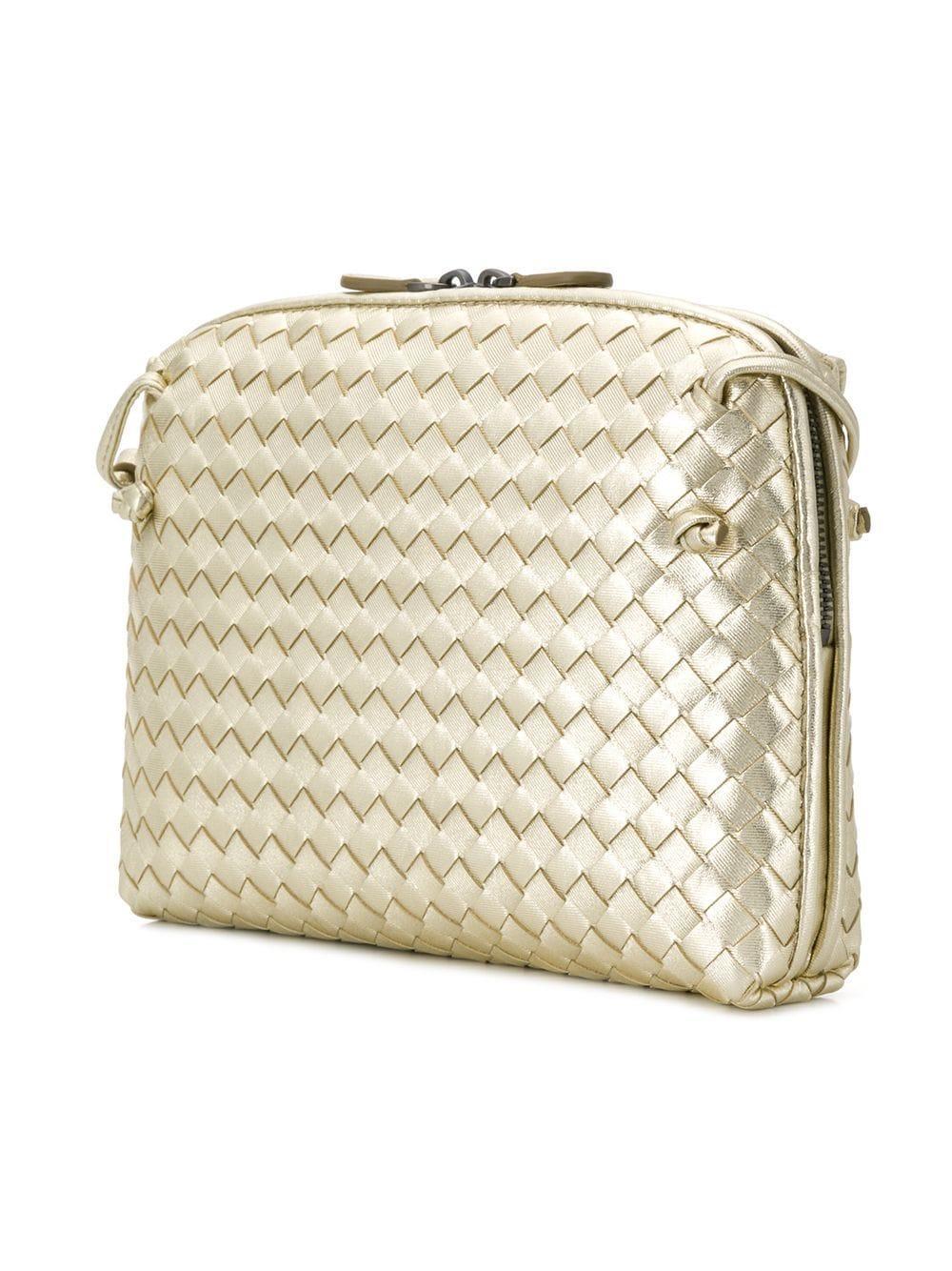 Bottega Veneta - Metallic Intrecciato Grosgrain Crossbody Bag - Lyst. View  fullscreen 6c032c34cd05a