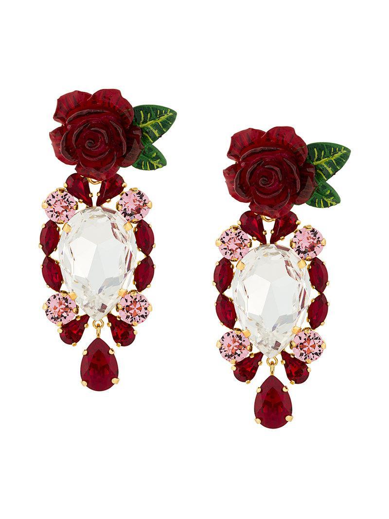 80df6548624b Lyst - Pendientes con rosas y cristales colgantes Dolce   Gabbana de ...
