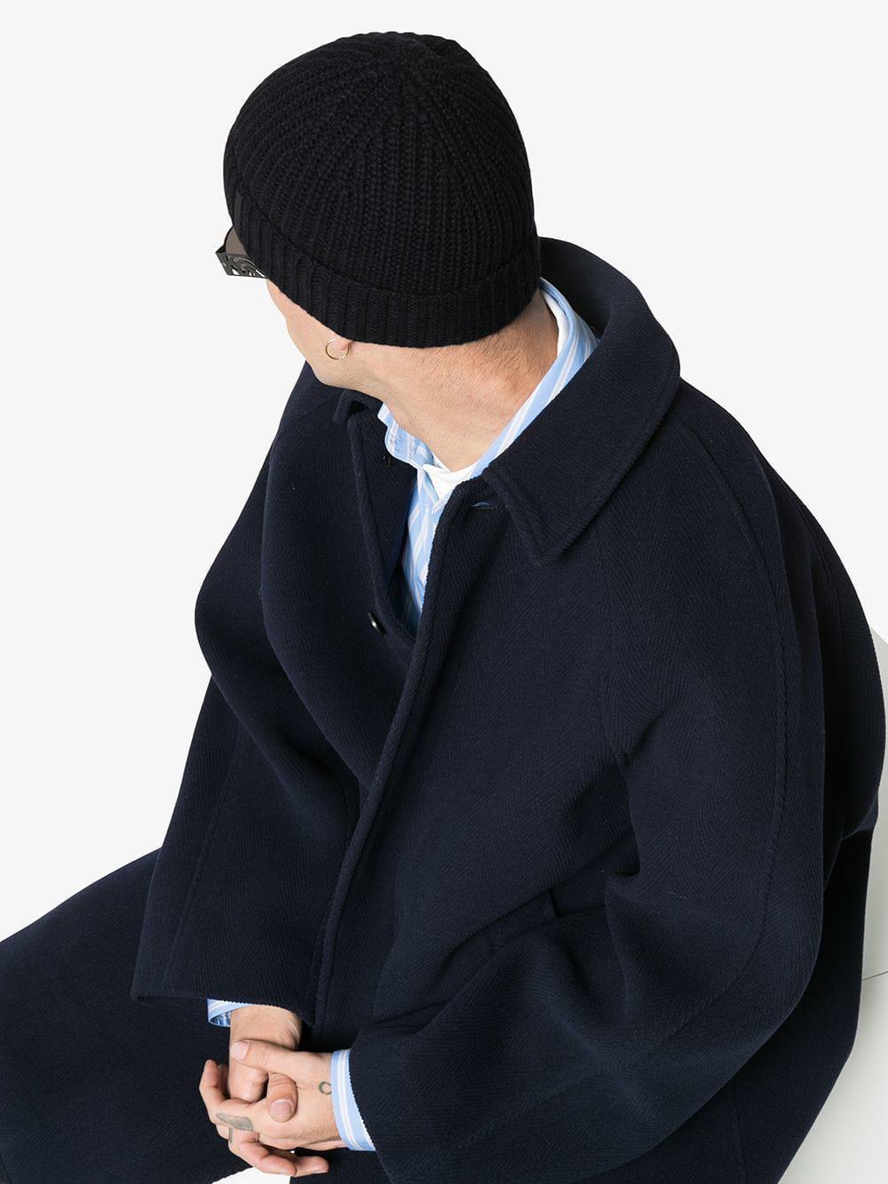 b8b52e758aa Burberry - Black Fisherman Knitted Cashmere Beanie Hat for Men - Lyst. View  fullscreen