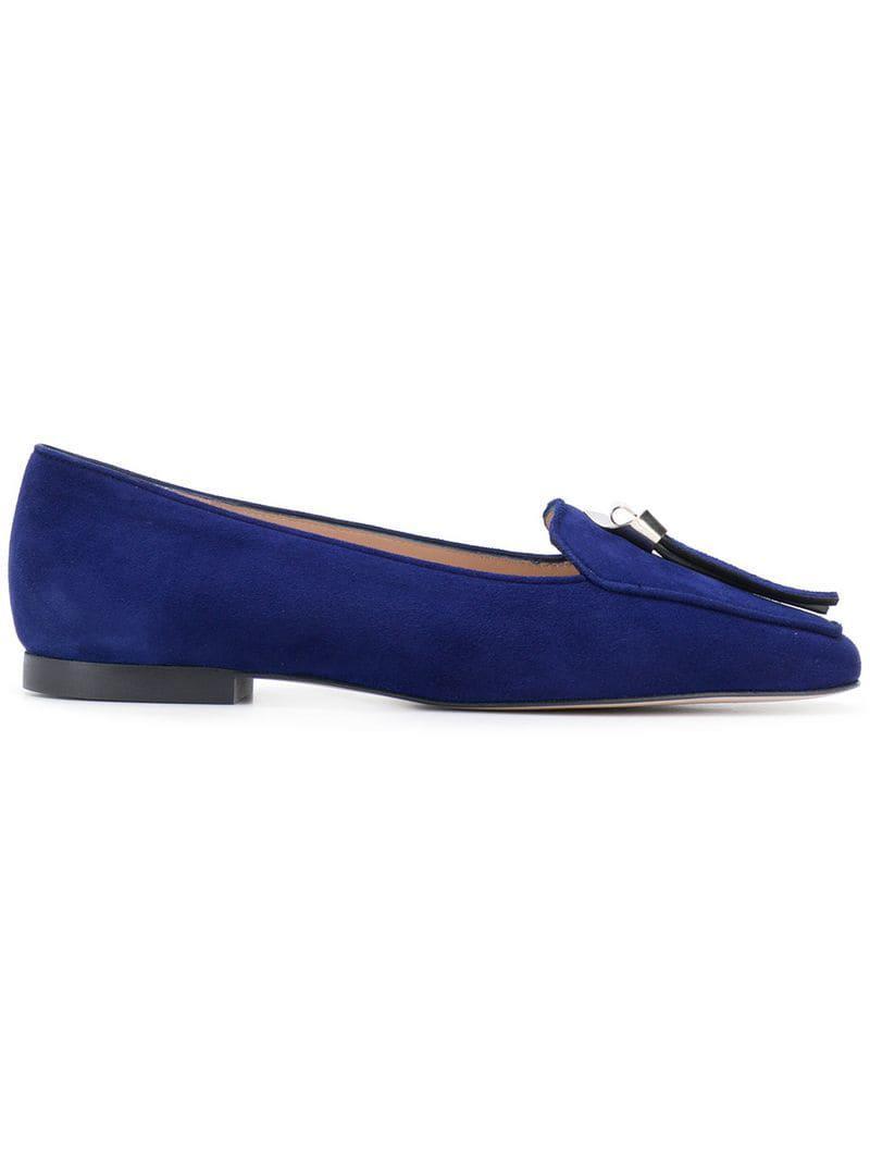 9fe63fa036c Stuart Weitzman Low Heel Loafers in Blue - Lyst