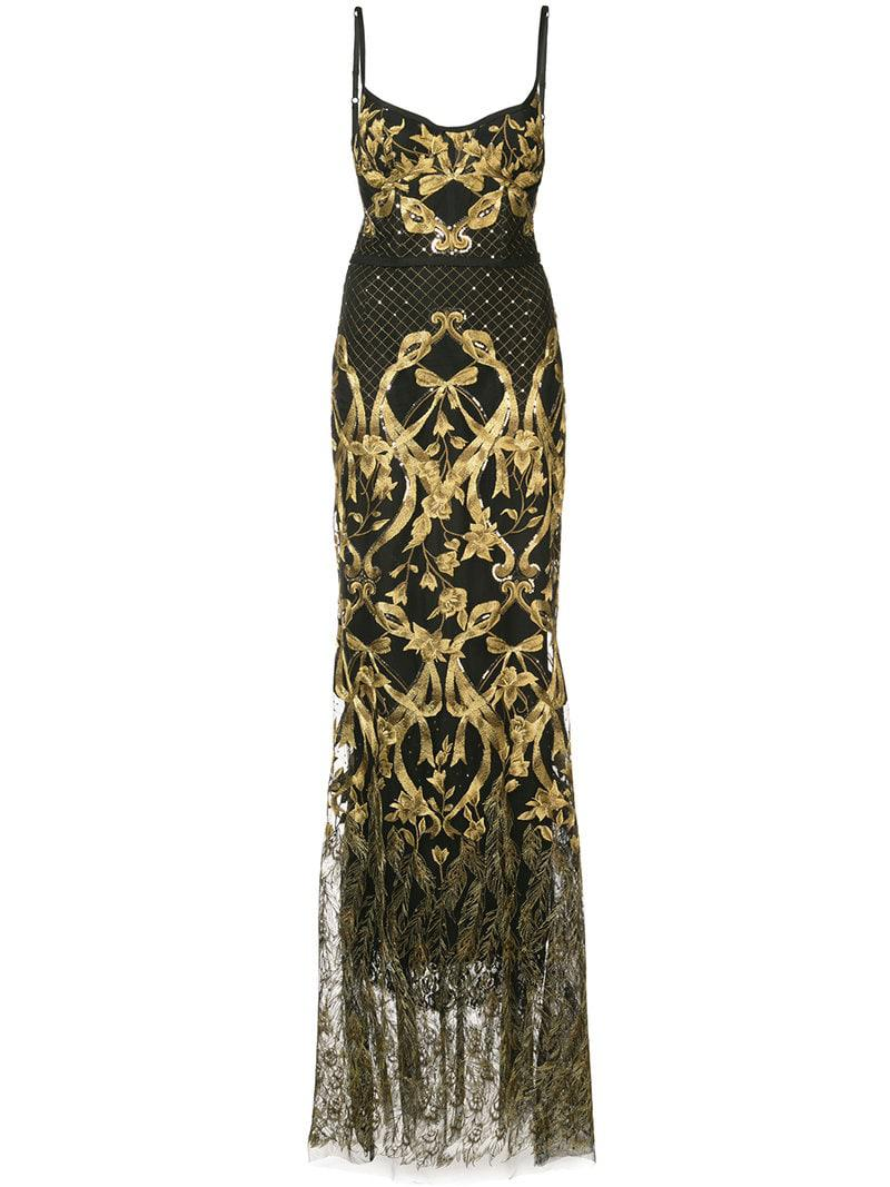 24bef30d Marchesa notte Embroidered Corset Gown in Black - Lyst