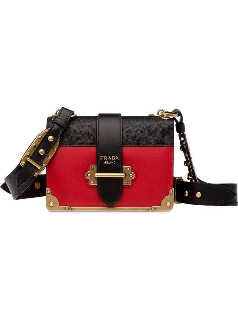 ca8e925c1d0d49 Prada Cahier Leather Shoulder Bag in Red - Save 35% - Lyst