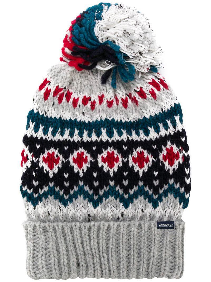 61ea4c40773e9 Woolrich Intarsia Bobble Hat in Gray for Men - Lyst