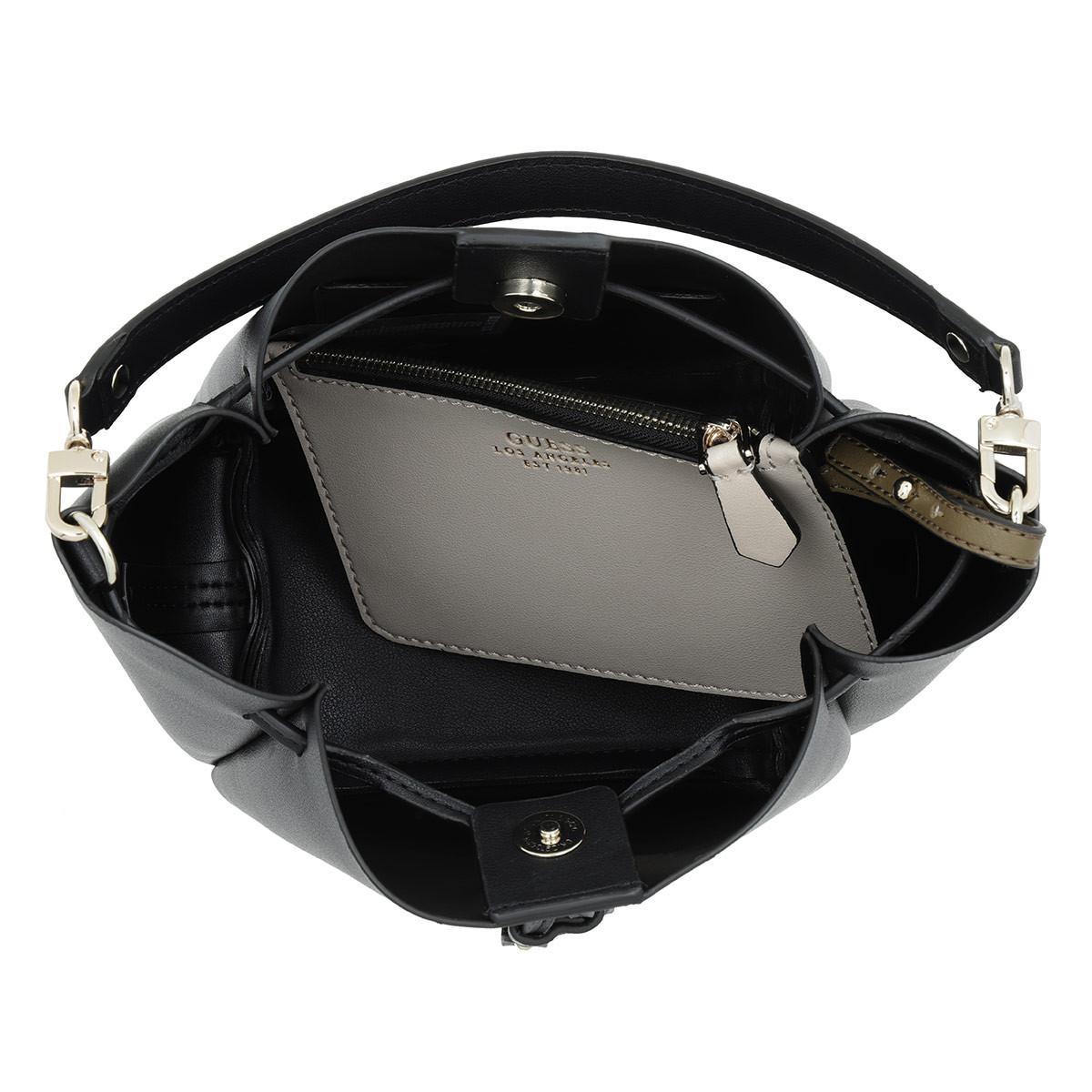 8877b4143 Guess Ella Mini Bucket Bag Black in Black - Lyst