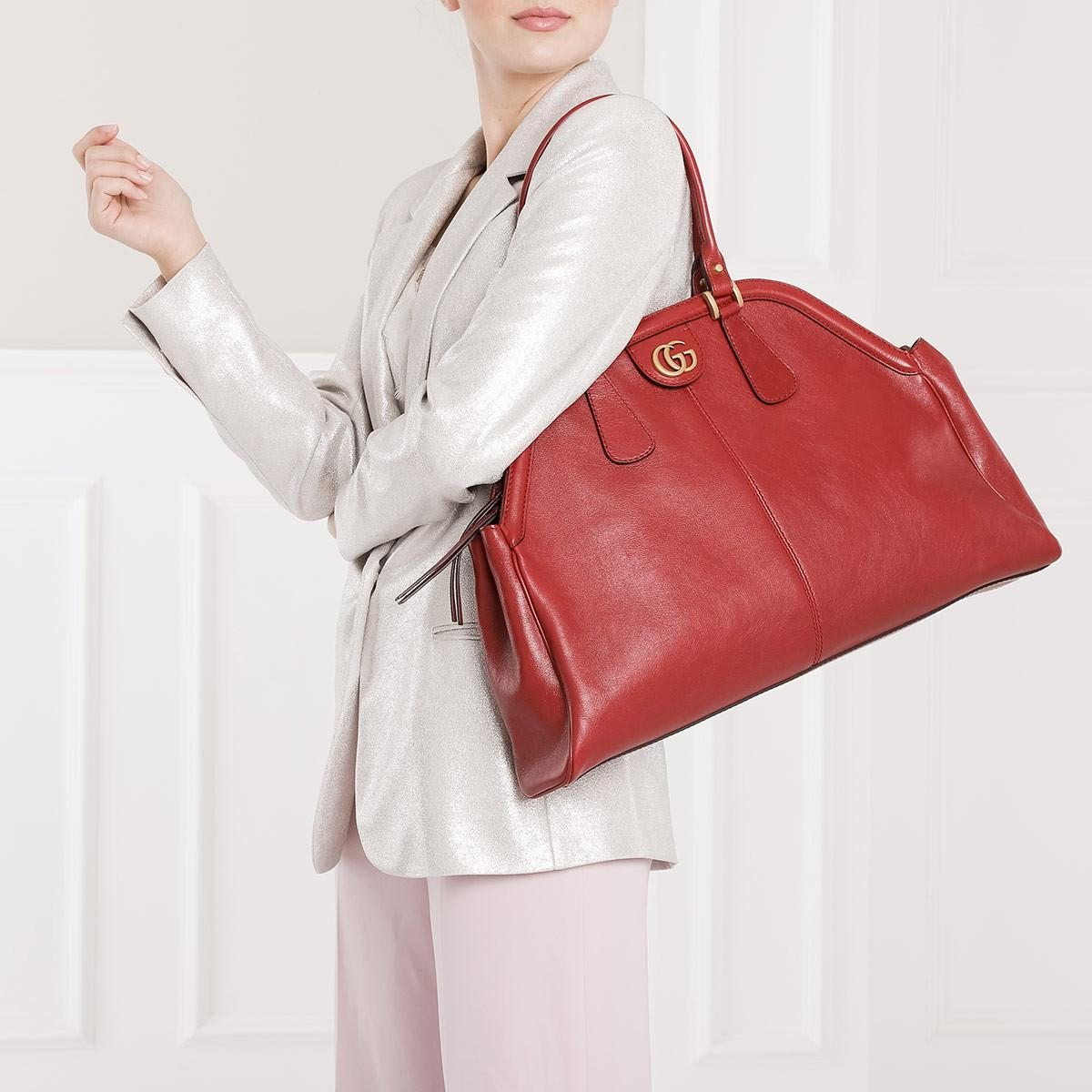 eeac59b0935c Gucci - Rebelle Large Top Handle Bag Leather Red - Lyst. View fullscreen