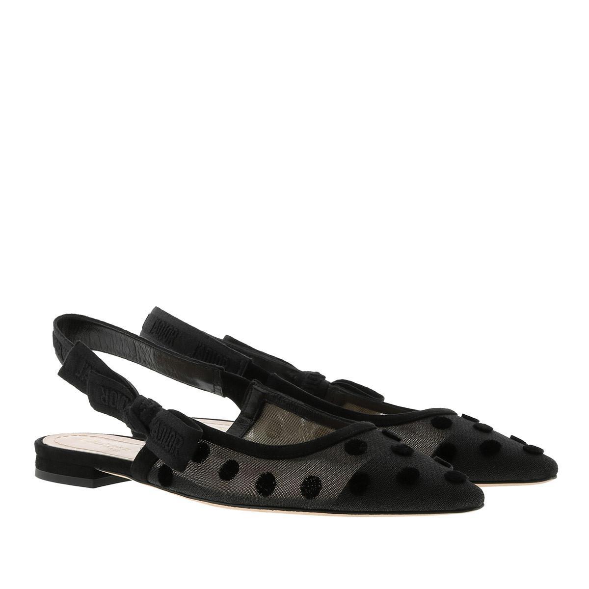 7c728c97c62 Dior Jadior Slingback Flat Pumps Black in Black - Lyst