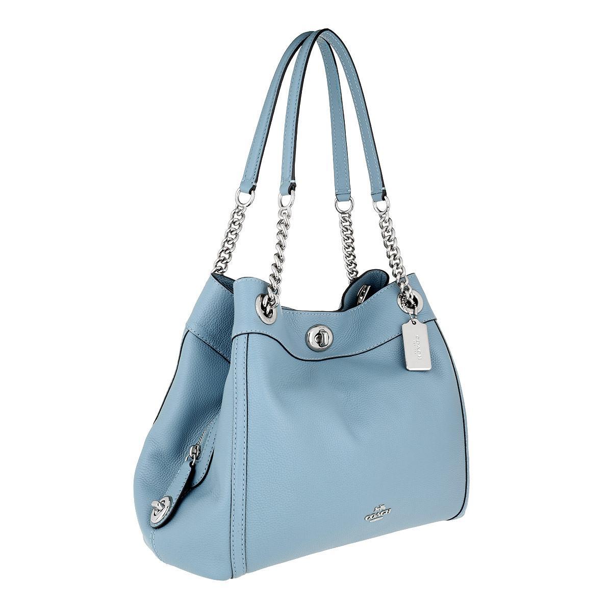 60e4cb643d4b COACH - Blue Polished Pebble Leather Turnlock Edie Shoulder Bag Grey -  Lyst. View fullscreen