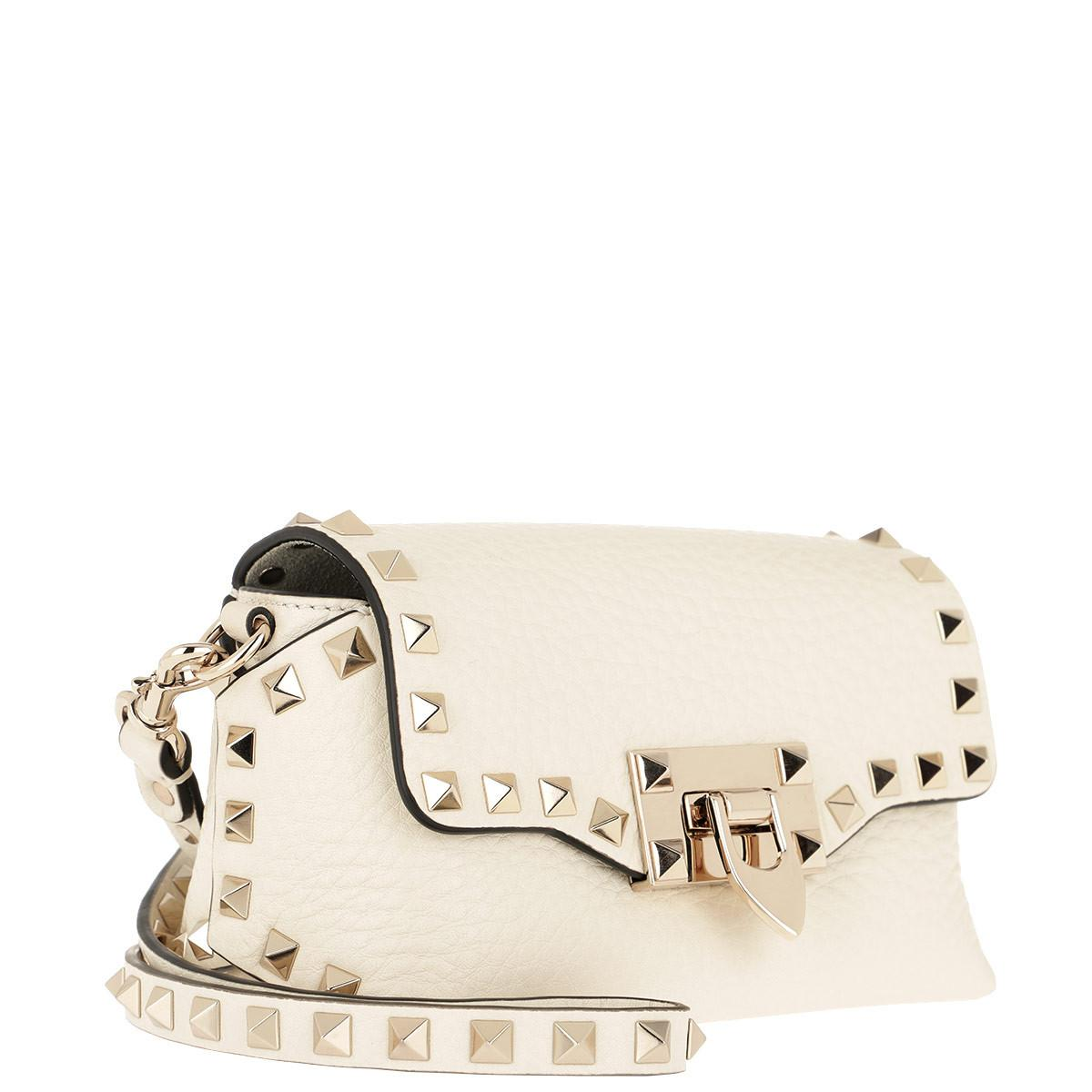 61f607125a Valentino Rockstud Crossbody Bag Small 2 Leather Light Ivory in ...