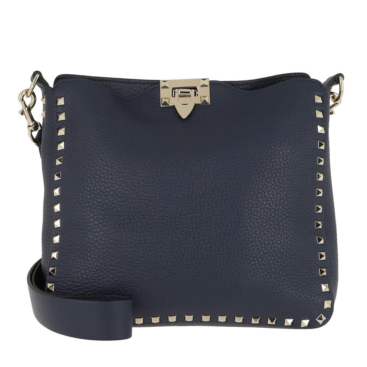 302b631ed6 Valentino Rockstud Nappa Messenger Bag Pure Blue in Blue - Lyst