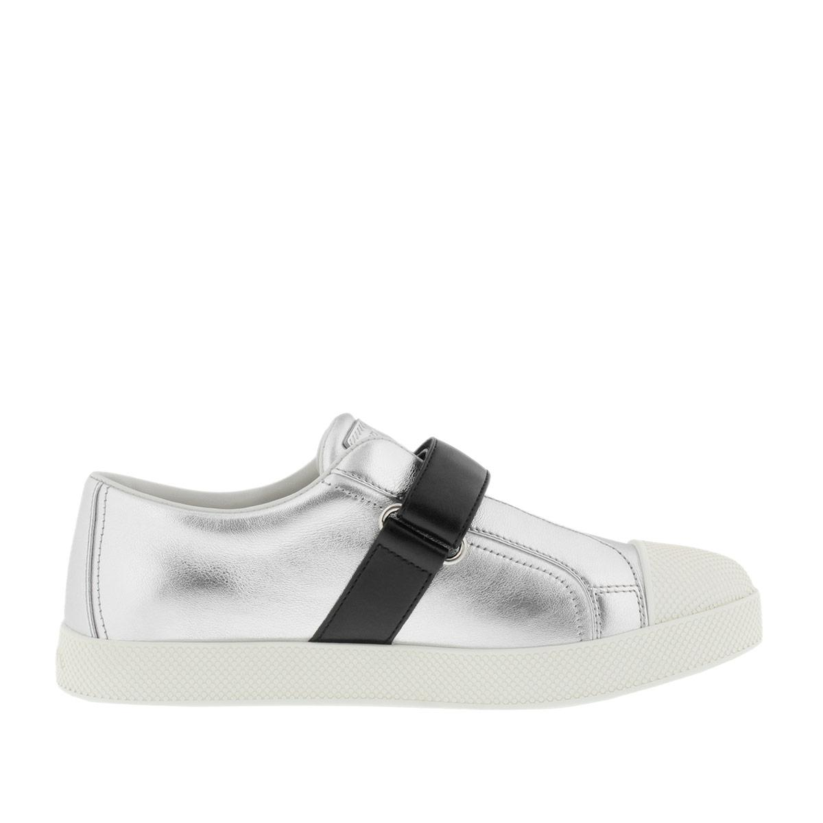 Sneakers - Calzature Donna Vitello Soft Sneaker Black/White - black - Sneakers for ladies Prada