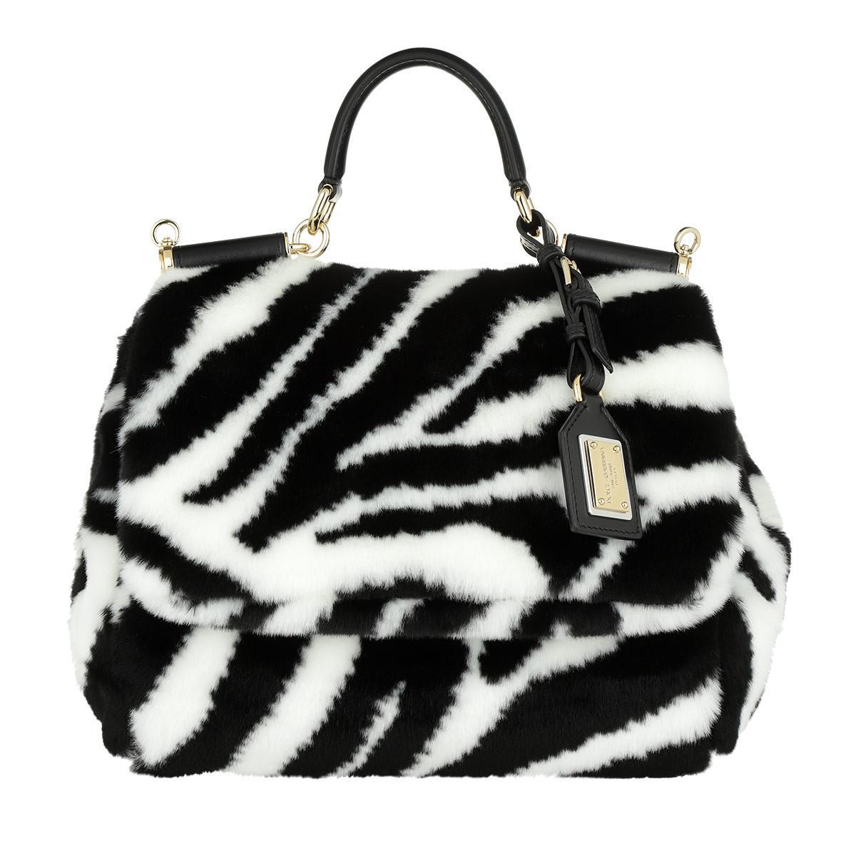 223f82111a8b Dolce   Gabbana Sicily Soft Bag Zebra Faux Fur Black white in Black ...