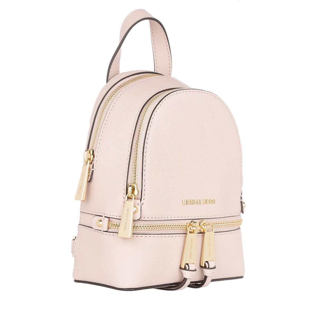 1f4ce40a0b Michael Kors Rhea Zip Xs Leather Messenger Backpack Soft Pink in ...
