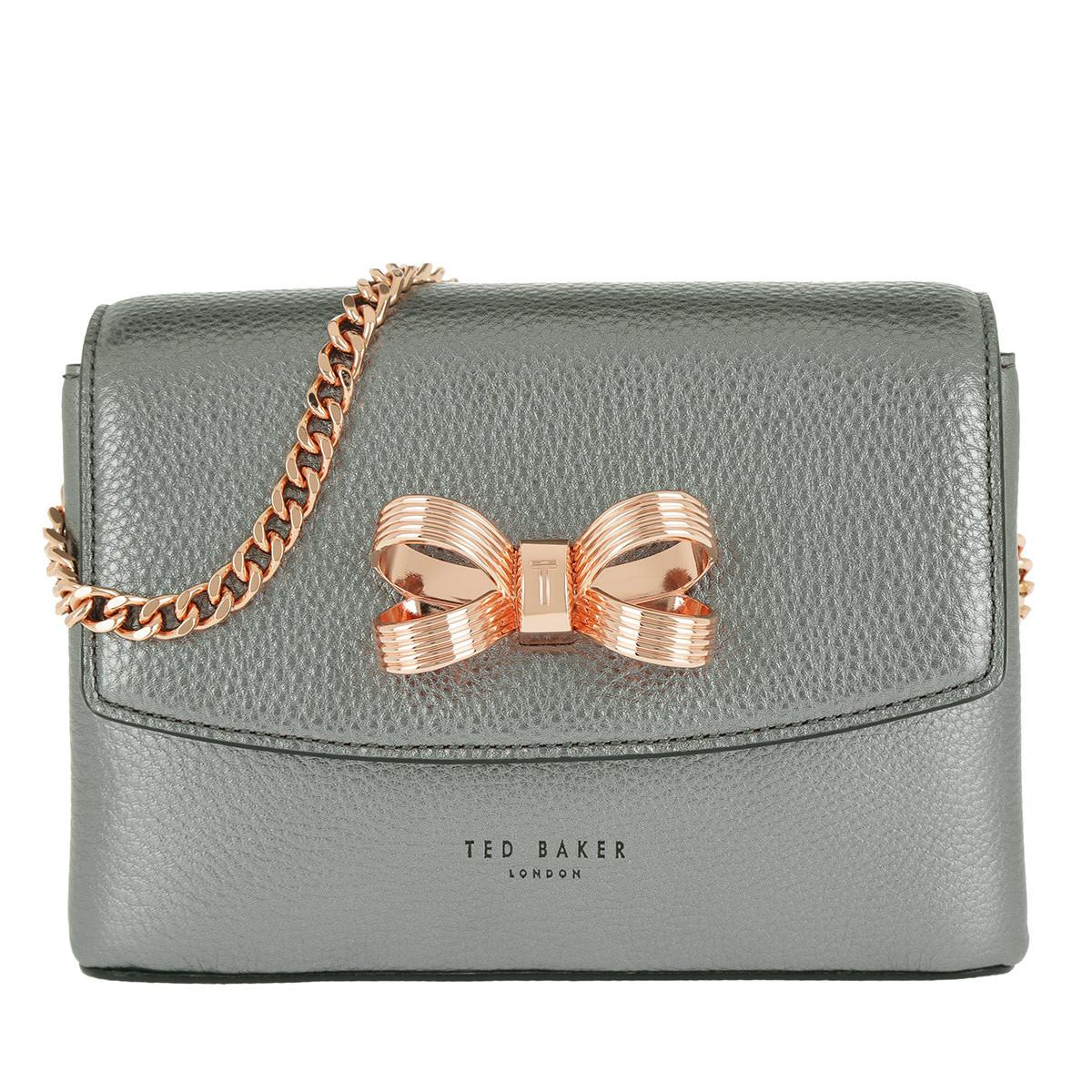 b4d865324e18 Ted Baker Lupiin Metallic Looped Bow Mini Xbody Gunmetal in Metallic ...
