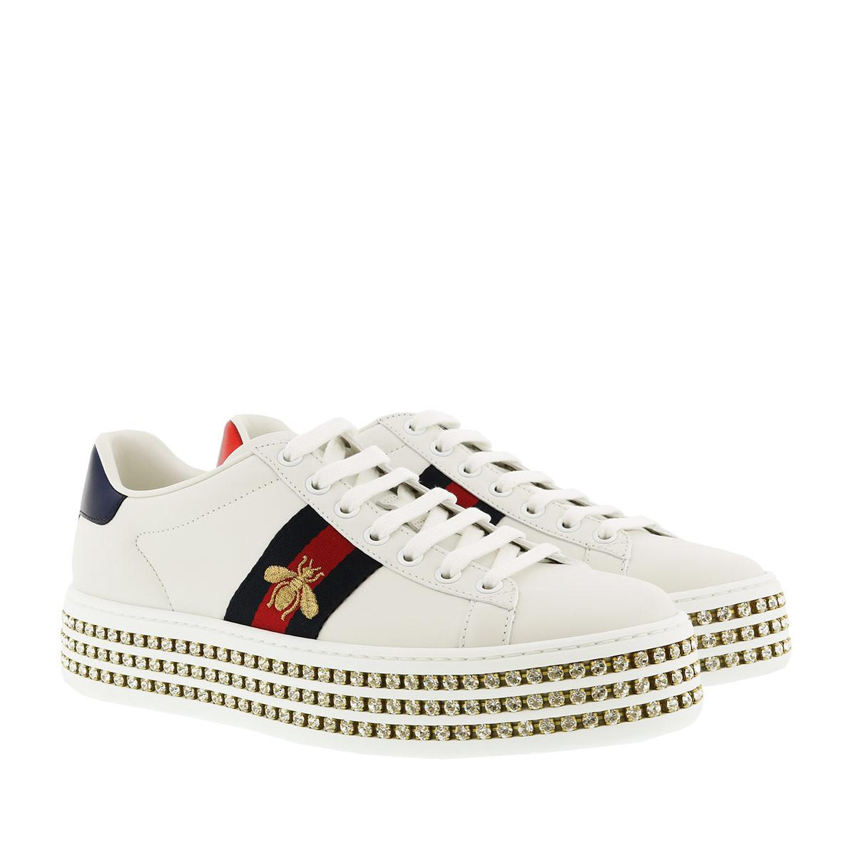 6dab410fa4c Gucci White Crystal New Ace Sneakers in White - Save 15% - Lyst