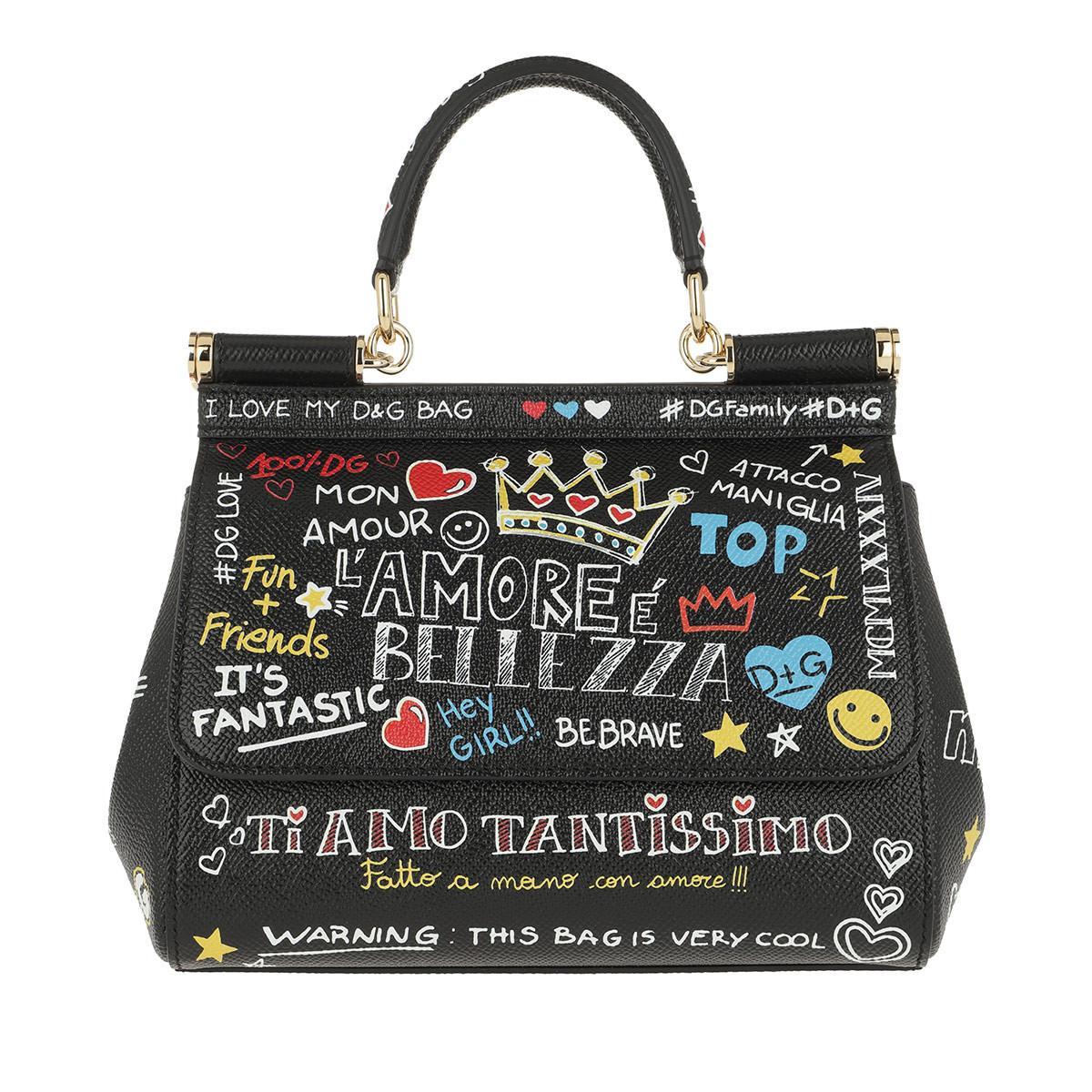 Dolce   Gabbana Sicily Mini Bag Mural Print Leather Murales in Black ... e8be08ab766