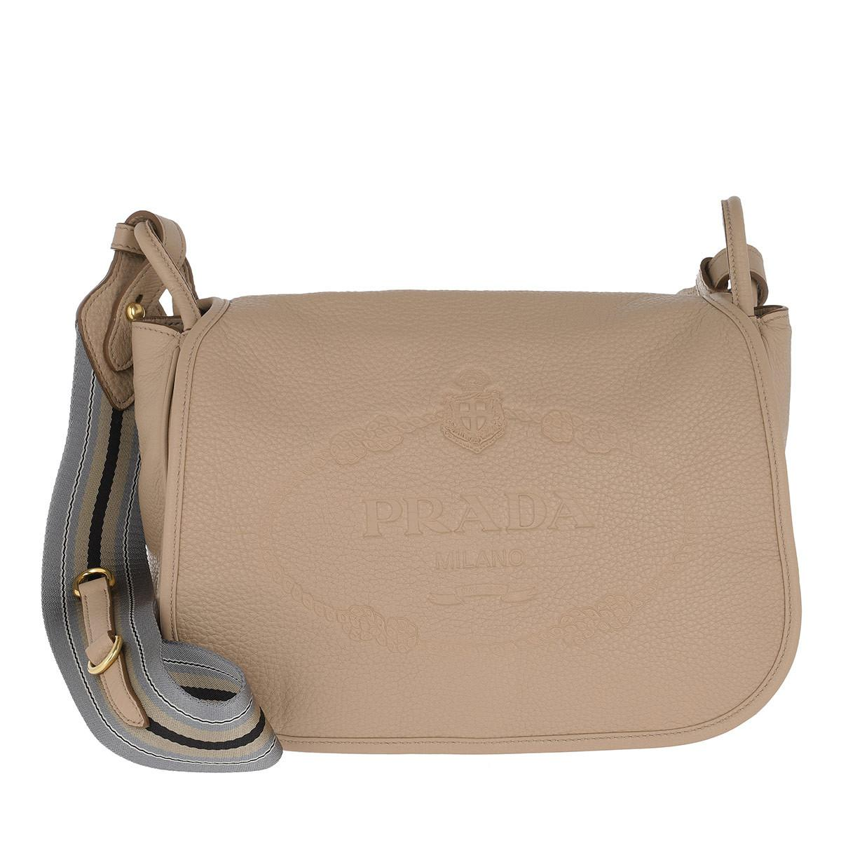 Cross Body Bags - Deer Print Crossbody Bag Leather Cammeo - beige - Cross Body Bags for ladies Prada SLeGGpp5