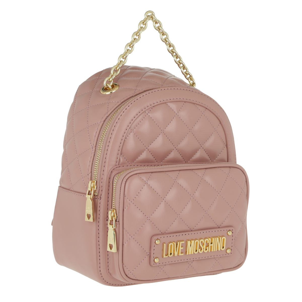 0eaf2f0bb731 Love Moschino - Pink Quilted Nappa Pu Small Backpack Rosa - Lyst. View  fullscreen