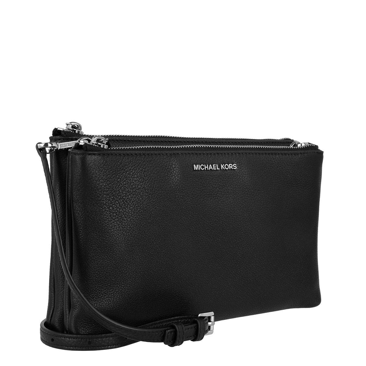 e2120ab6e1db Michael Kors Adele Double Zip Crossbody Leather Black in Black - Lyst