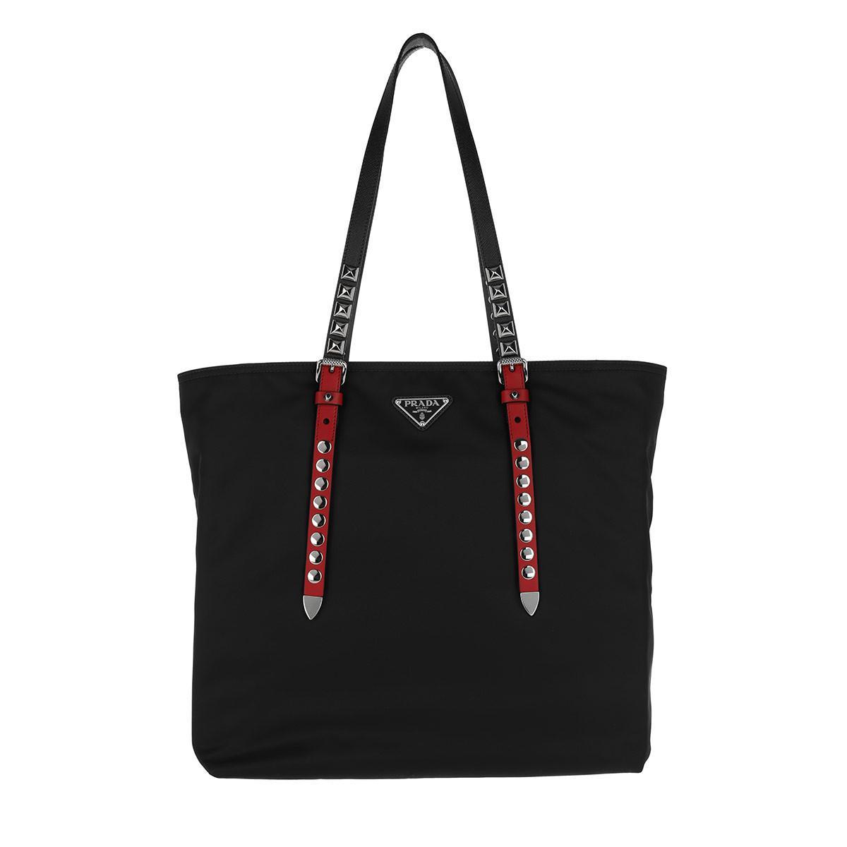 5a559a700d77 ... canada prada new vela tote nylon black red in black lyst 9443b 20047